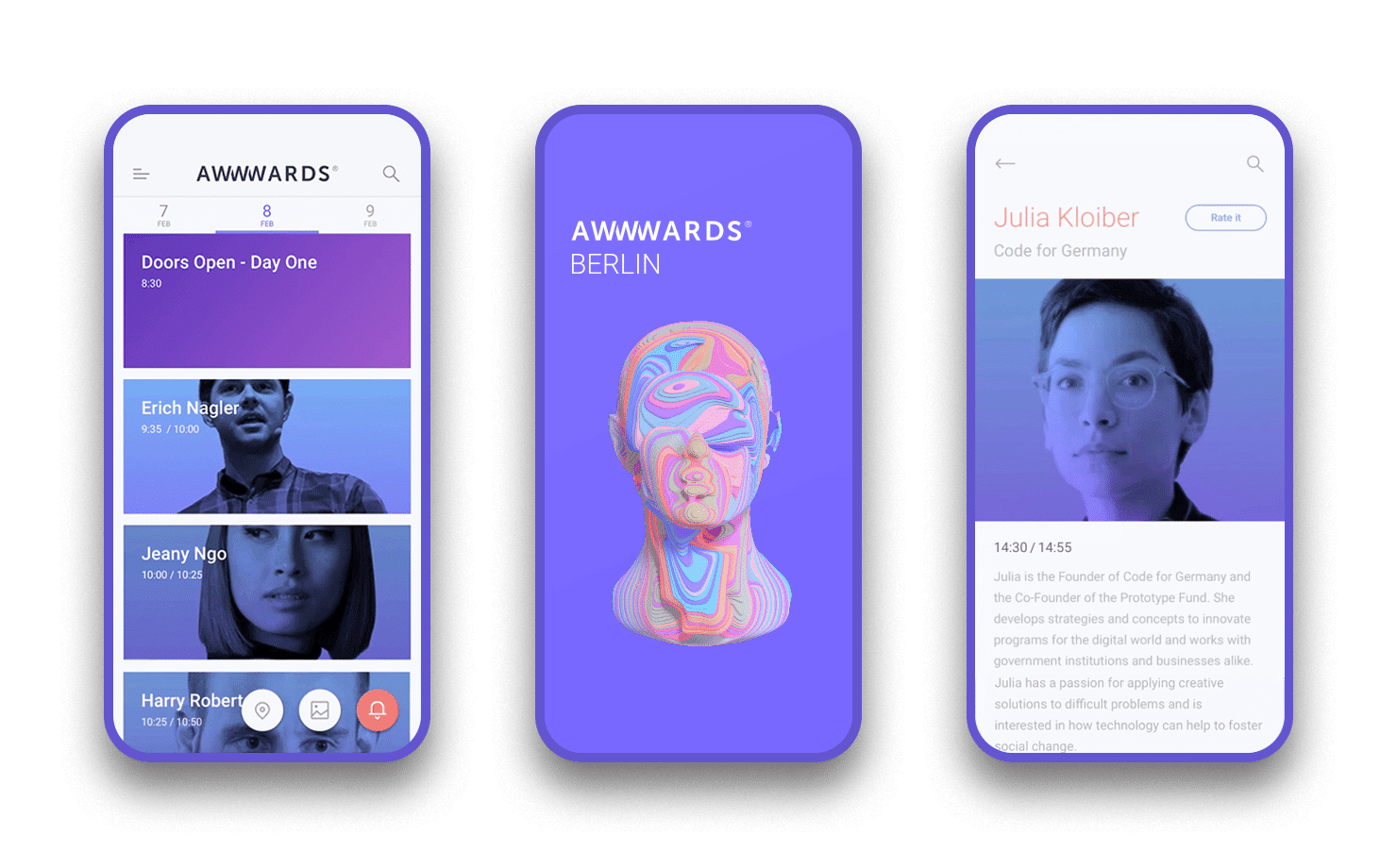 Awwwards Conference oficial App designed By Nectar