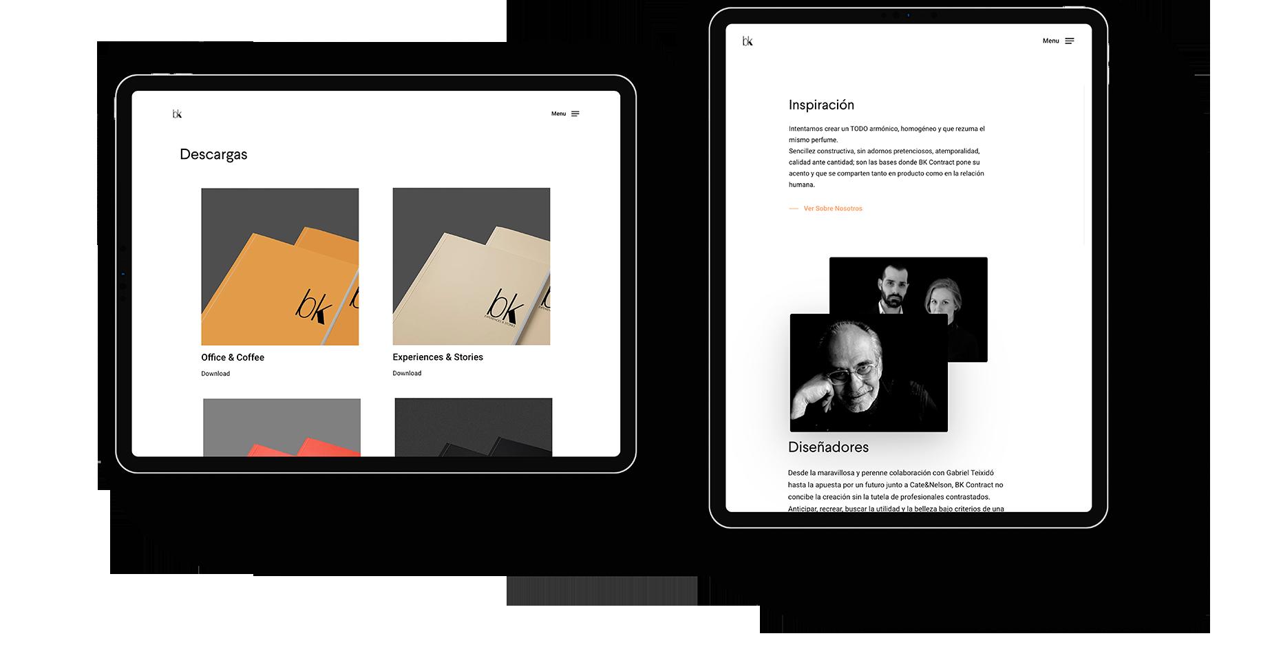Diseño web para el mueble contemporáneo y honesto del futuro. BK Contract