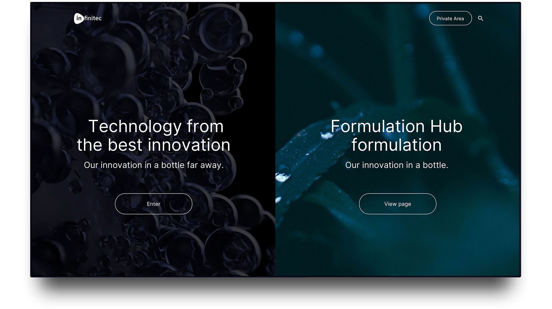 Infinitec, web design and UX UI for biotechnological innovation