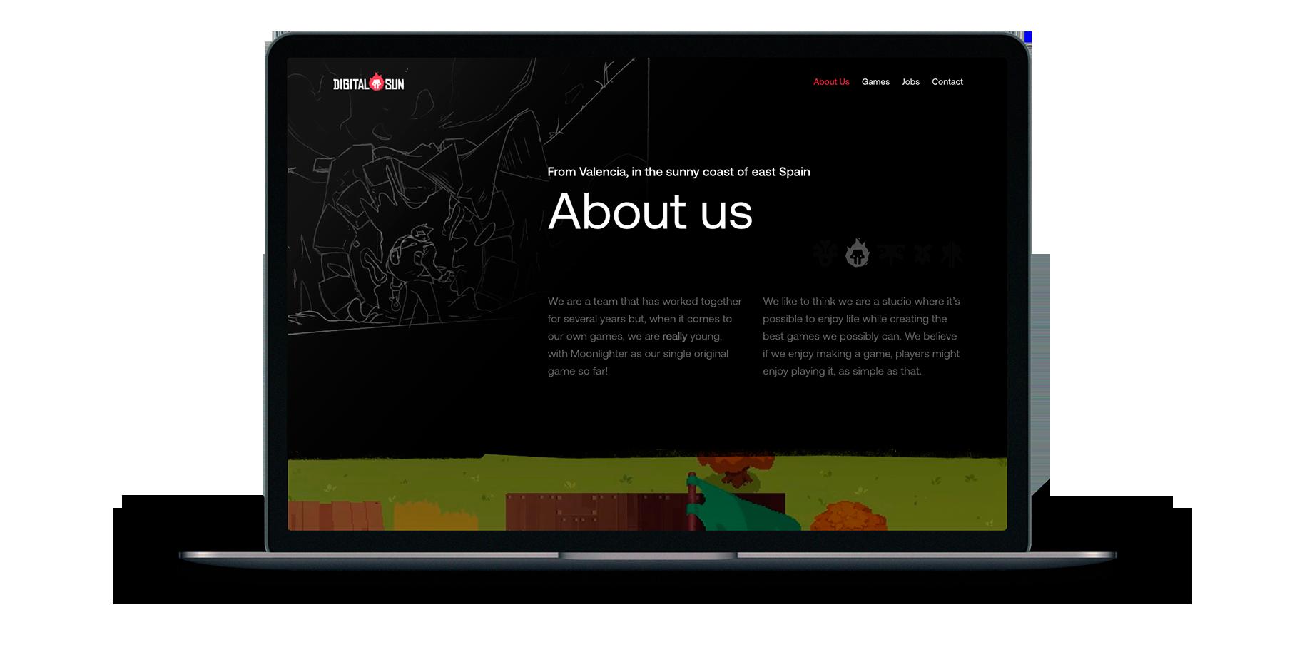 Diseño web para la empresa de videojuegos independientes, Digital Sun Games